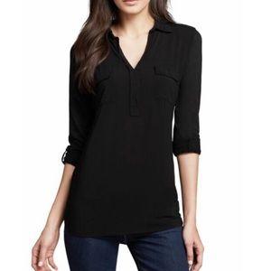 Splendid black tunic pop over rolled sleeve top